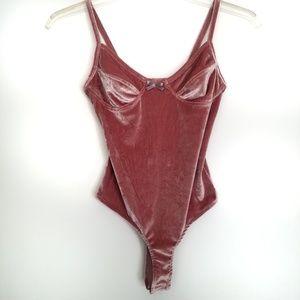 Asos pink velvet cami bodysuit